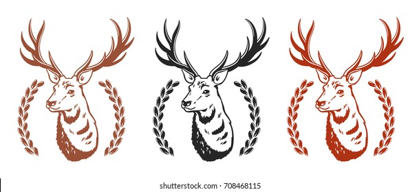 Set of vector logos. Deer/
