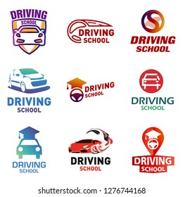 Set of vector logos driving school, car