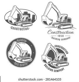 Set of vector logos. Excavator.