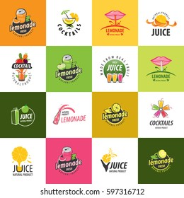 Set of vector logos. Juice and lemonade