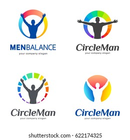 Set of vector logos. Men balance, body balance. Vector template