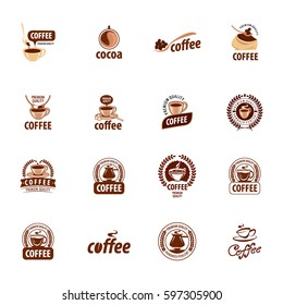Set of vector logos. Natural coffe