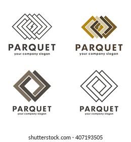 Set of vector logos parquet, parquet board, laminate, flooring.