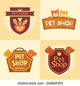 Set of vector logos for pet shop, hotel. Animal welfare, quality service and useful food.