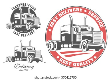 Set of vector logos with semi trucks.