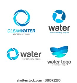 Set of vector logos. Sign for cleaning pipes and sewage systems, water filters. Clean water