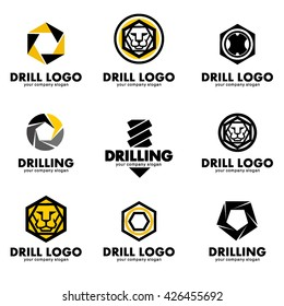 Set of vector logos for the tool, drill bit, drilling