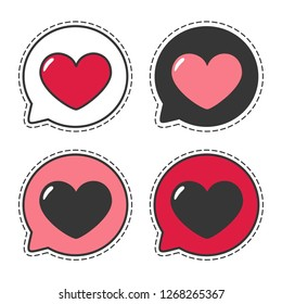 Set of vector love icon sticker heart. Illustration of hearts message  in flat style.