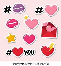 Set of vector love icon sticker. Sticker in the form of lips, #heart, hearts, love letters and text: I love you. Illustration of romantic stickers in flat minimalism style.
