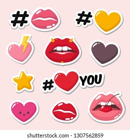 Set of vector love romantic icon sticker. Sticker in the form of sexy lips, hearts, kawaii heart, stars, cherries and the text: Love you. Illustration of romantic stickers in flat minimalism style.