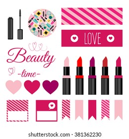 Set of vector make up tools.Vector illustration with nail polish,lipstick,mascara.Vector printable boxes,half boxes, in flat colors for party decor.