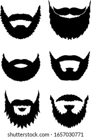 Set of vector manly beards in black color.
