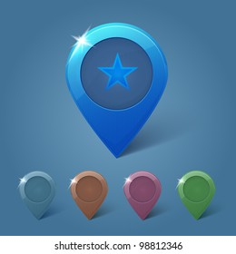 Set of vector map pins on blue background