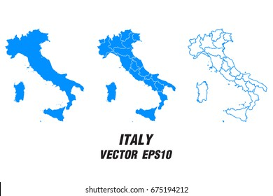 Set vector maps - Vector map of Italy,Vector illustration eps 10.