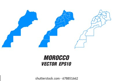 Set vector maps - Vector map of Morocco,Vector illustration eps 10.