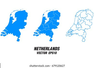 Set vector maps - Vector map of Netherlands,Vector illustration eps 10.