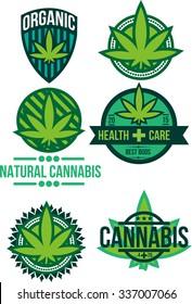 Set of vector marijuana cannabis natural organic weed pot product labels and logo graphics