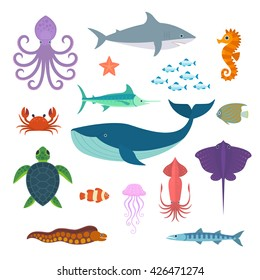 Set of vector marine fish and animals. Vector Set of Sea Creatures.
