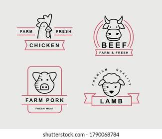 Ensemble de logos vectoriels sur la viande, étiquettes, graphiques, signes. Modèles de logos avec poulet, vache, porc et mouton pour le magasin, le marché, la ferme