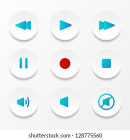 Set of vector media player buttons