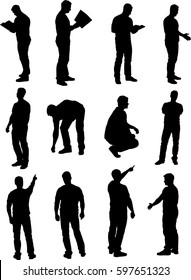 Set of vector men isolated silhouettes