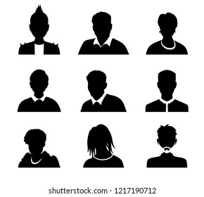 Set of vector men and women with business avatar profile picture. Avatars silhouette