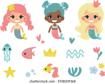 set of vector mermaids clipart. cartoon illustration in childish style. images are isolated on a white background.