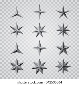 set of vector metal transparent stars