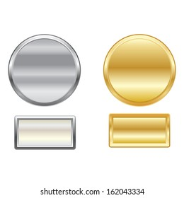 Set of vector metallic buttons. Can be used for web design.