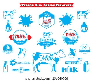 Set of Vector Milk Labels and Design Elements Isolated on White