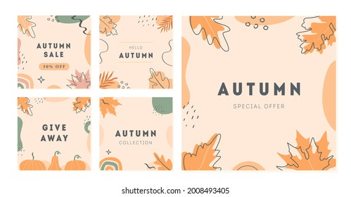 Set of vector minimal cards with abstract shapes, pumpkin and autumnal leaves. Autumn sale trendy post templates for social media. Modern square banners with copy space for text. Flat Illustration.
