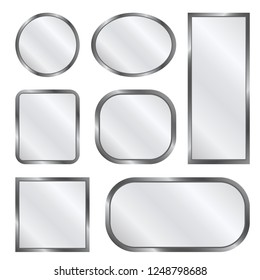 A set of vector mirrors of various shapes. Flat design.