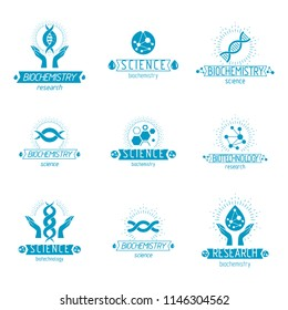 Set of vector models of molecule and human dna. Collection of corporate logotypes created in biomedical engineering, genetics, molecular genetics and biotechnology concepts.
