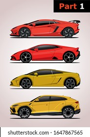 set of vector models of super cars, side view (part 1). Top to bottom: Lamborghini Aventador, Lamborghini Huracan, Lamborghini Gallardo, 1st Lamborghini Urus crossover.