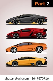 set of vector models of super cars, side view (part 2). Top to bottom: Lamborghini Centenario, Lamborghini Veneno, Lamborghini Diablo, Lamborghini Murcielago.