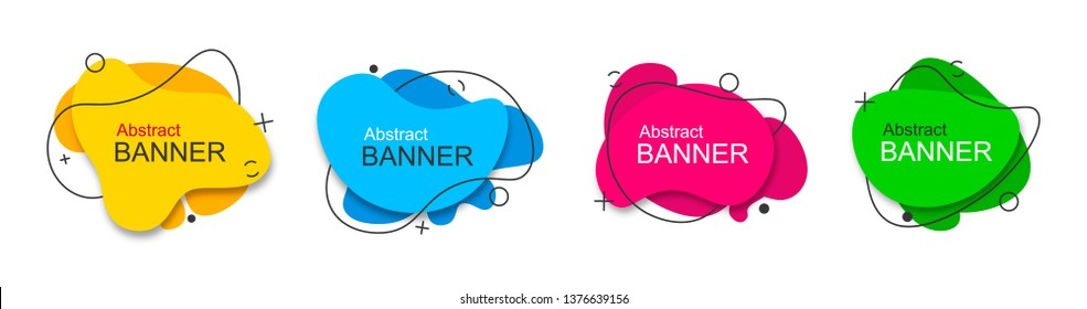 Set of vector modern abstract yellow, blue, red, green banners. Ready to use in web and typography.