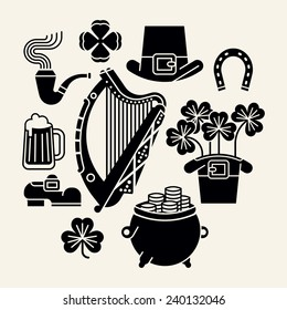 Set of vector modern black and white decoration items on Happy Saint Patrick's Day featuring Ireland harp, clover leaves, leprechaun hat, shoe, pint of beer, pot of gold and more