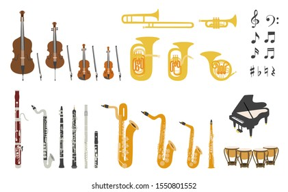 Set of vector modern flat design musical instruments. A group of orchestra instruments . Flat illustrations of musical instruments isolated on white background.