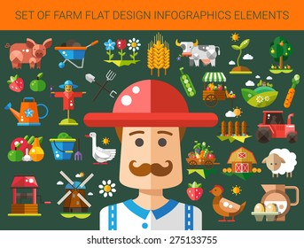 Set of vector modern flat design farm and agriculture icons and elements