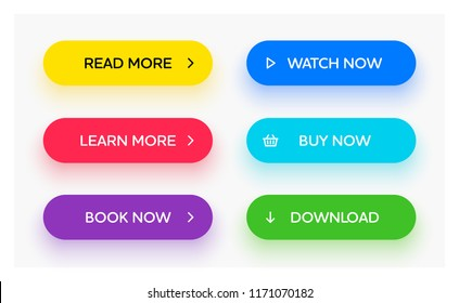 Set of vector modern material style buttons. Different gradient colors and icons on oval forms with shadows.
