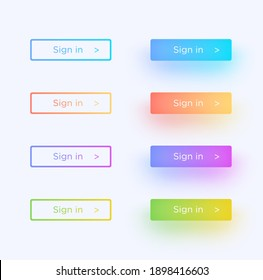 Set of vector modern material style buttons with shadows. Different gradient colors. Vector