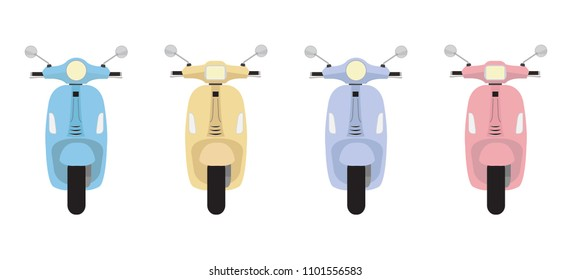 Set of vector modern scooters and colorful style