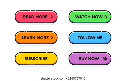 Set of vector modern trendy flat outline buttons. Different colors of main shapes and icons with black stroke frames.