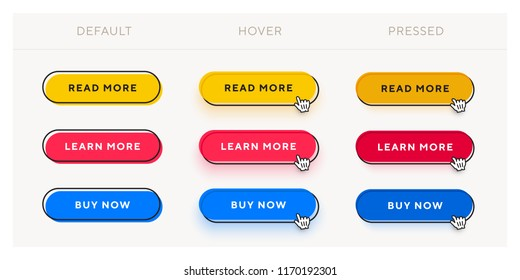 Set of vector modern trendy flat buttons with different states. Different colors of main rounded shape with black oval outline frames.