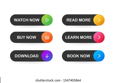 Set of vector modern trendy flat buttons. Different colors of main shapes.