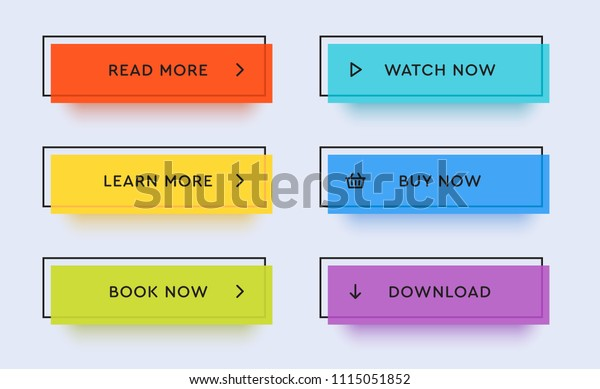 Set of vector modern trendy flat buttons. Different colors of main shapes and icons with black outline frames.