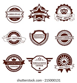 Set of vector monochrome badges and labels