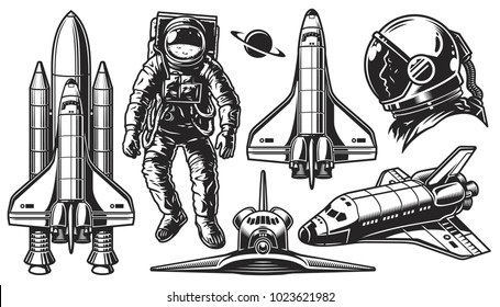 Set of vector monochrome of space. Elements of design on a white background. Vector illustration.