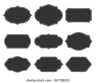 Set vector monochrome vintage frames. Design elements for greeting cards or invitations. Decorative text backgrounds.