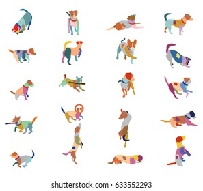 Set vector mosaic silhouettes of colorful dogs (Jack Russel terrier) cut out on white background